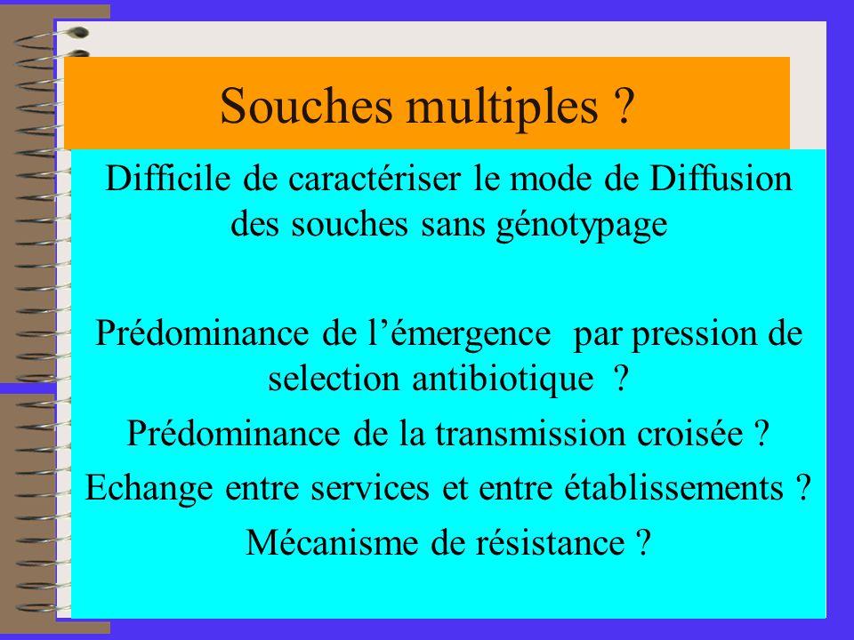 Souches multiples Difficile de caractériser le mode de Diffusion des souches sans génotypage.