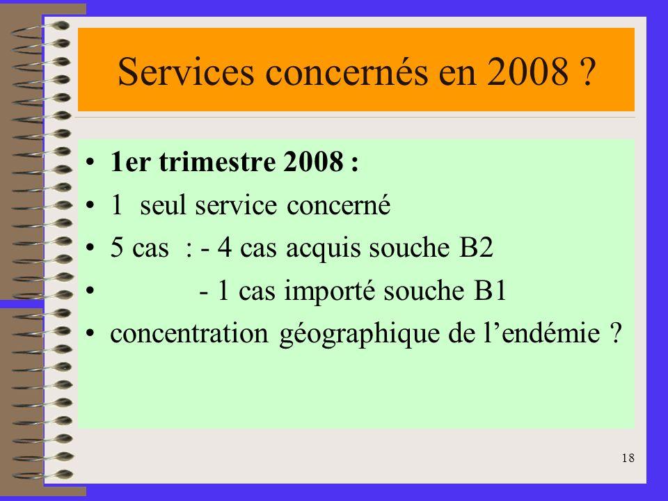 Services concernés en 2008 1er trimestre 2008 :