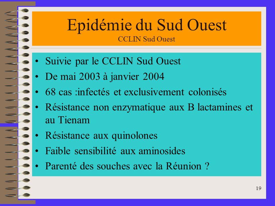 Epidémie du Sud Ouest CCLIN Sud Ouest