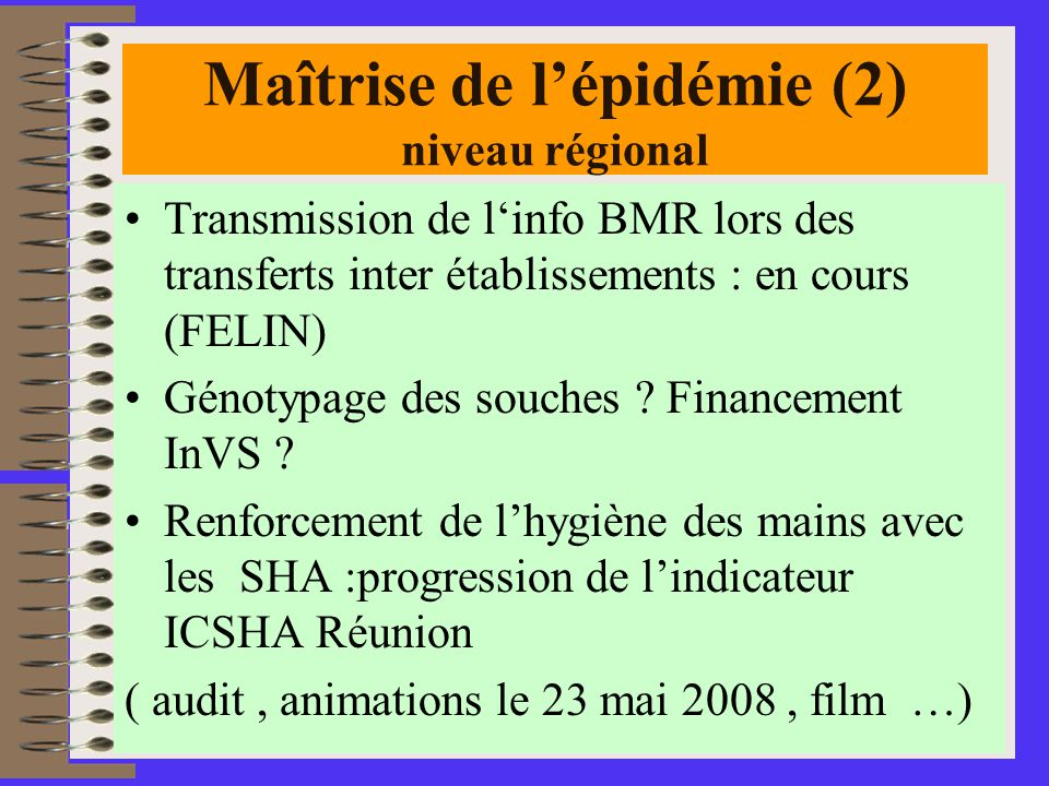Maîtrise de l'épidémie (2) niveau régional