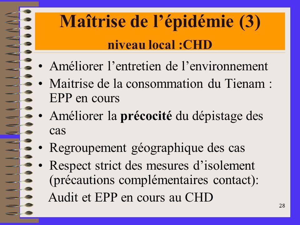 Maîtrise de l'épidémie (3) niveau local :CHD