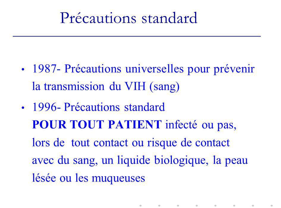 Précautions standard 1987- Précautions universelles pour prévenir la transmission du VIH (sang)
