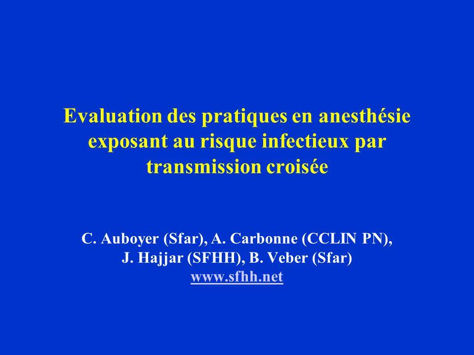 Evaluation des pratiques en anesthésie exposant au risque infectieux par transmission croisée