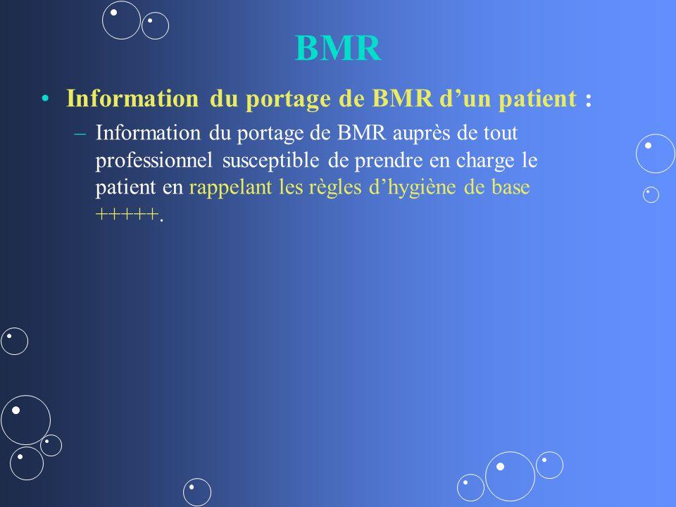 BMR Information du portage de BMR d'un patient :