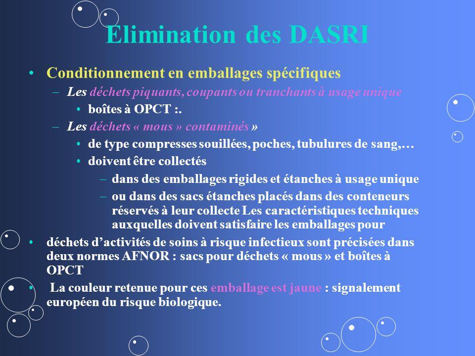 Elimination des DASRI Conditionnement en emballages spécifiques