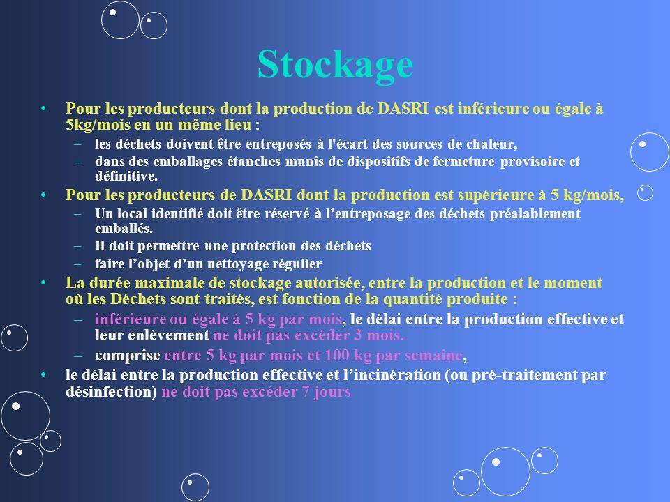 Stockage Pour les producteurs dont la production de DASRI est inférieure ou égale à 5kg/mois en un même lieu :