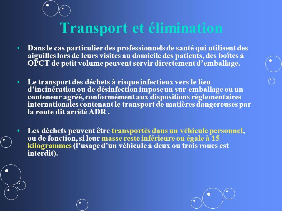 Transport et élimination