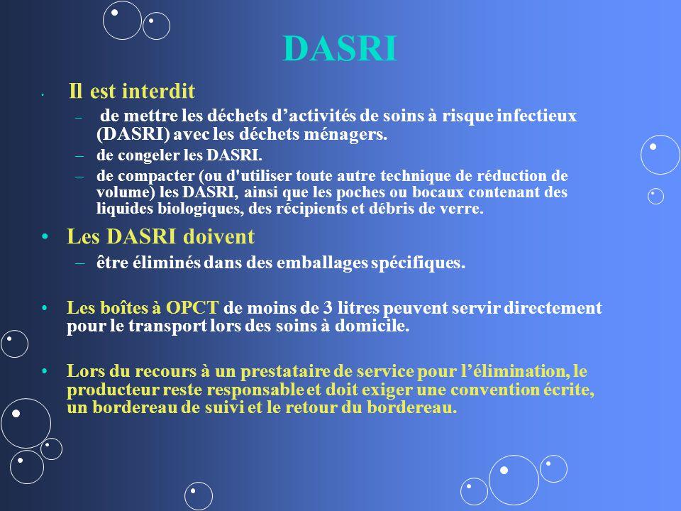 DASRI Les DASRI doivent être éliminés dans des emballages spécifiques.