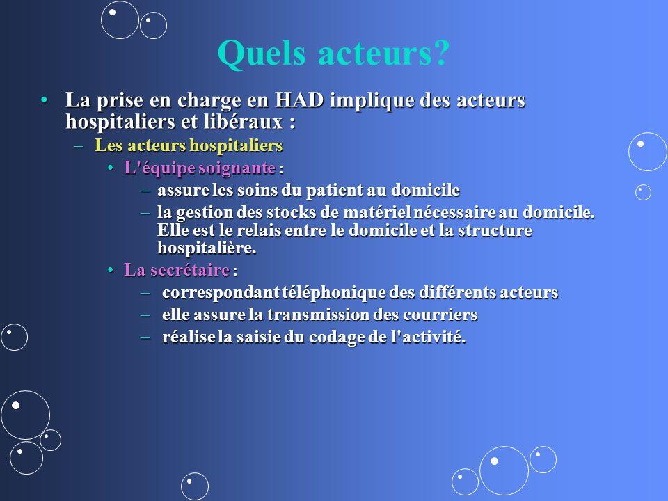 Quels acteurs La prise en charge en HAD implique des acteurs hospitaliers et libéraux : Les acteurs hospitaliers.