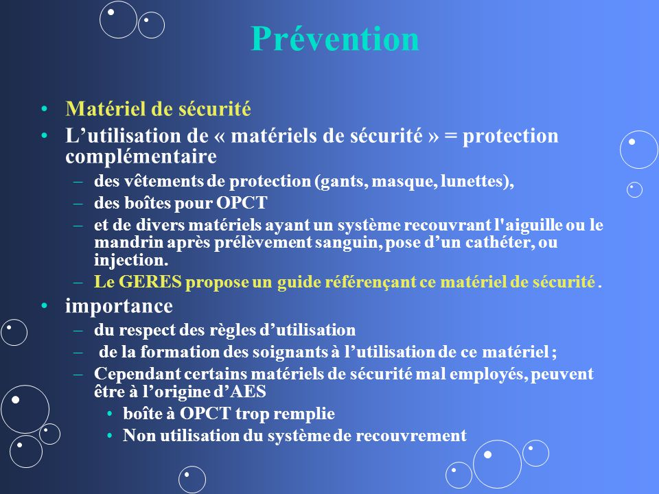 Prévention Matériel de sécurité