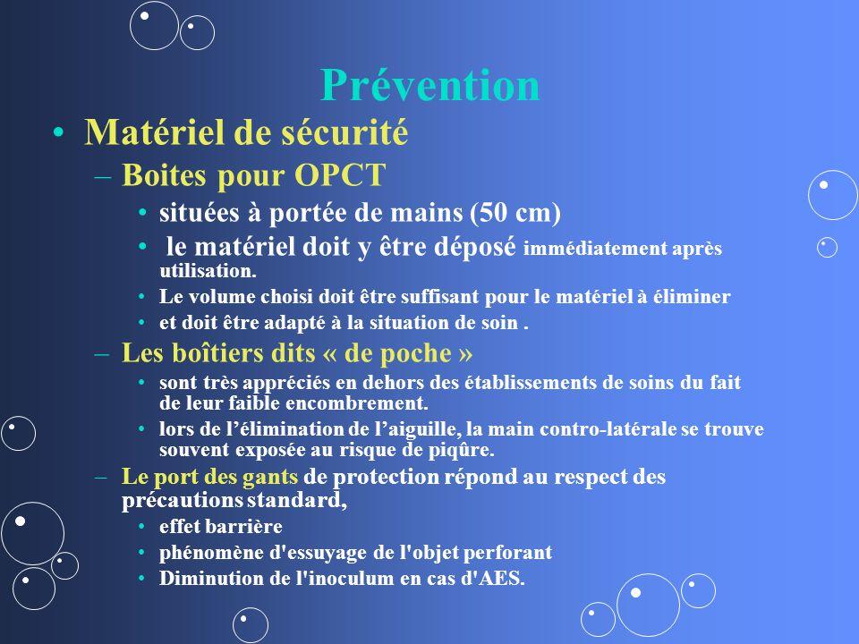 Prévention Matériel de sécurité Boites pour OPCT