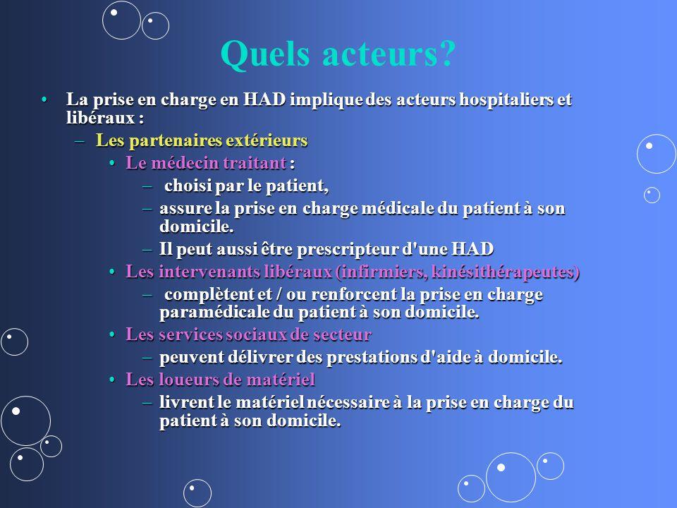 Quels acteurs La prise en charge en HAD implique des acteurs hospitaliers et libéraux : Les partenaires extérieurs.