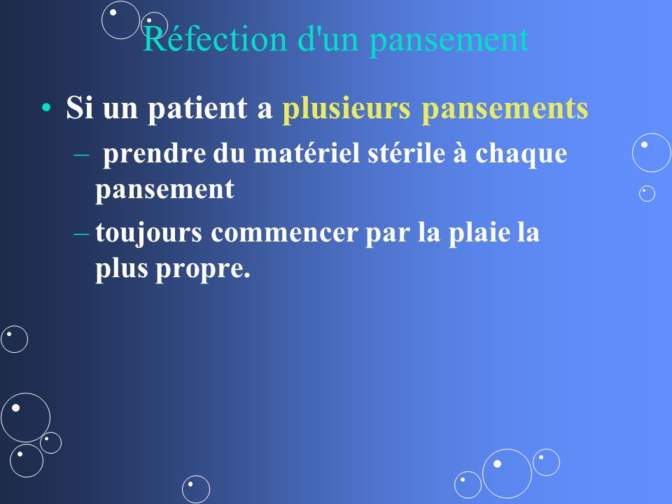 Réfection d un pansement