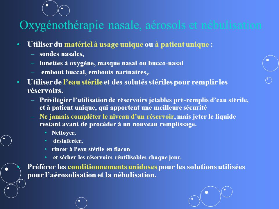 Oxygénothérapie nasale, aérosols et nébulisation