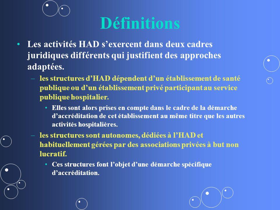 Définitions Les activités HAD s'exercent dans deux cadres juridiques différents qui justifient des approches adaptées.