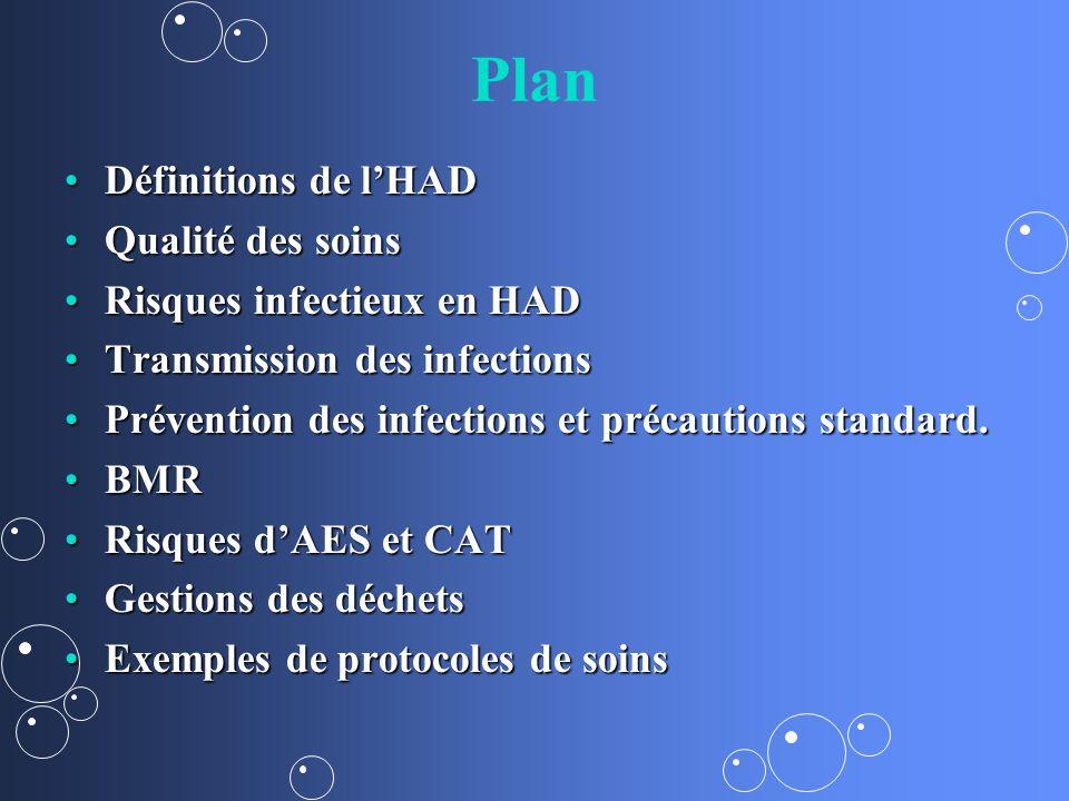 Plan Définitions de l'HAD Qualité des soins Risques infectieux en HAD