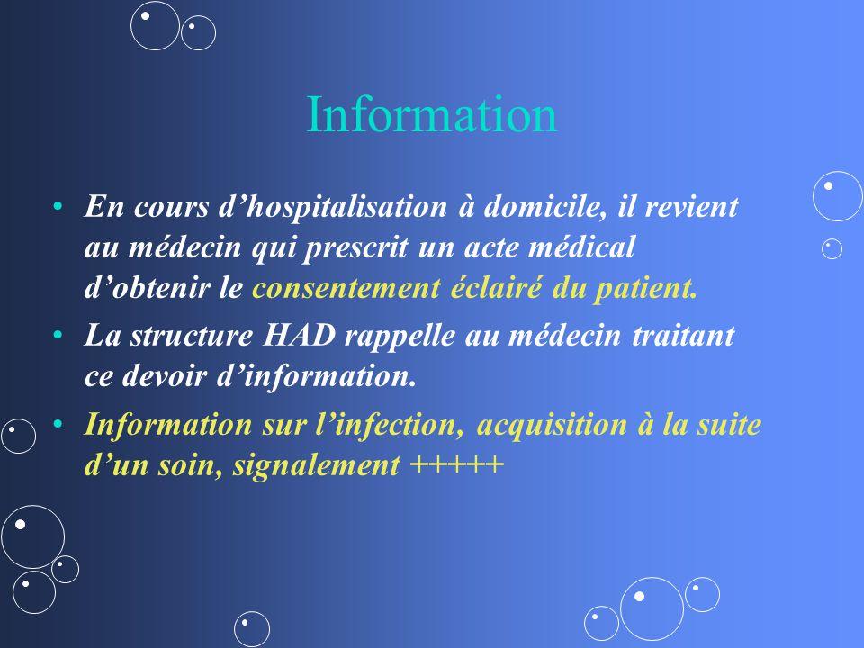 Information En cours d'hospitalisation à domicile, il revient au médecin qui prescrit un acte médical d'obtenir le consentement éclairé du patient.