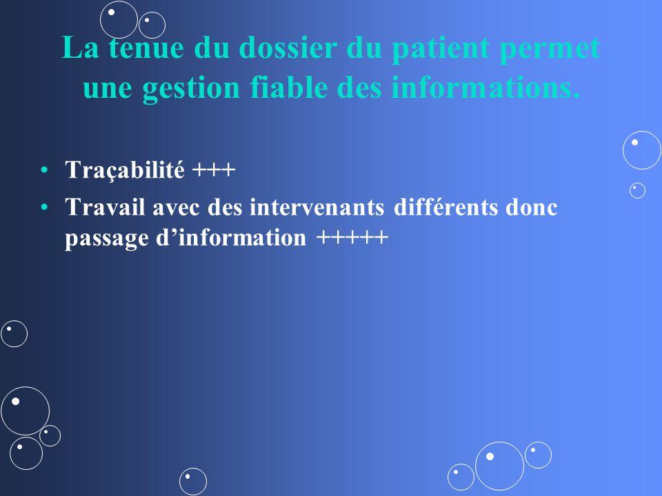 La tenue du dossier du patient permet une gestion fiable des informations.