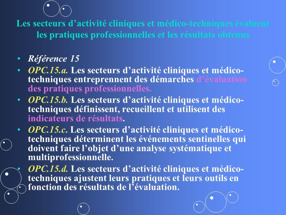 Les secteurs d'activité cliniques et médico-techniques évaluent les pratiques professionnelles et les résultats obtenus