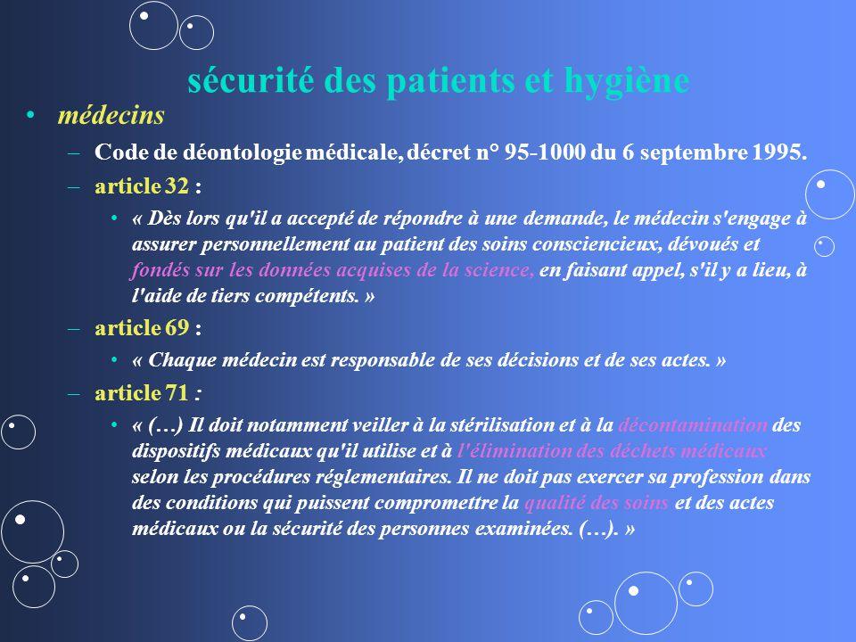 sécurité des patients et hygiène