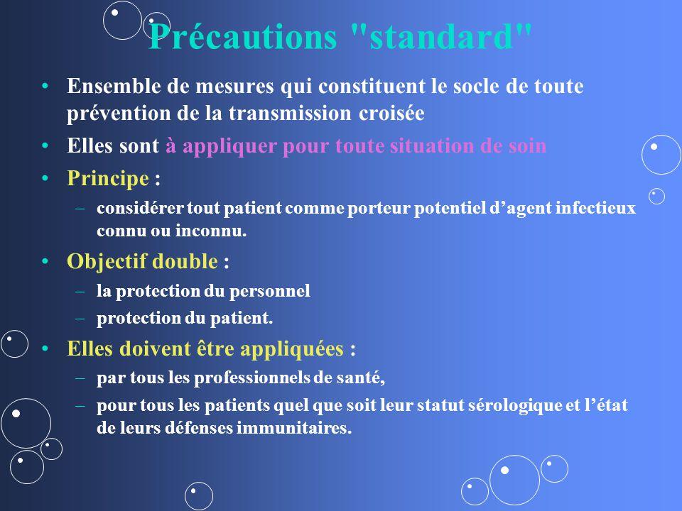 Précautions standard Ensemble de mesures qui constituent le socle de toute prévention de la transmission croisée.