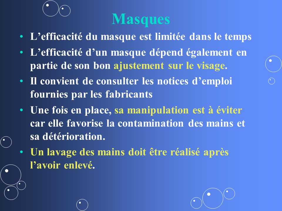Masques L'efficacité du masque est limitée dans le temps