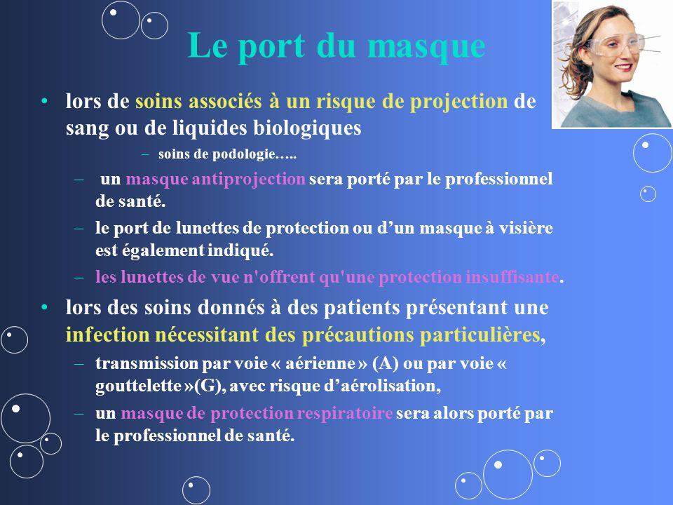 Le port du masque lors de soins associés à un risque de projection de sang ou de liquides biologiques.