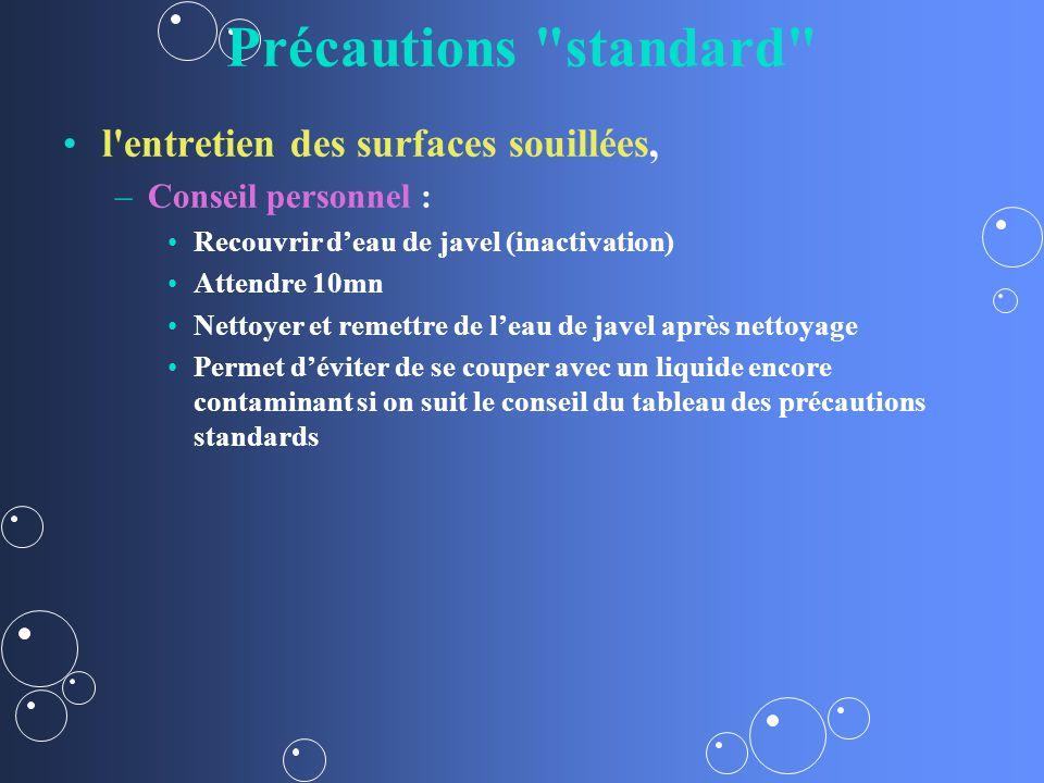 Précautions standard l entretien des surfaces souillées,