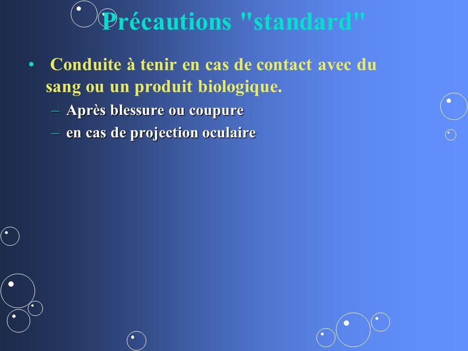 Précautions standard Conduite à tenir en cas de contact avec du sang ou un produit biologique. Après blessure ou coupure.