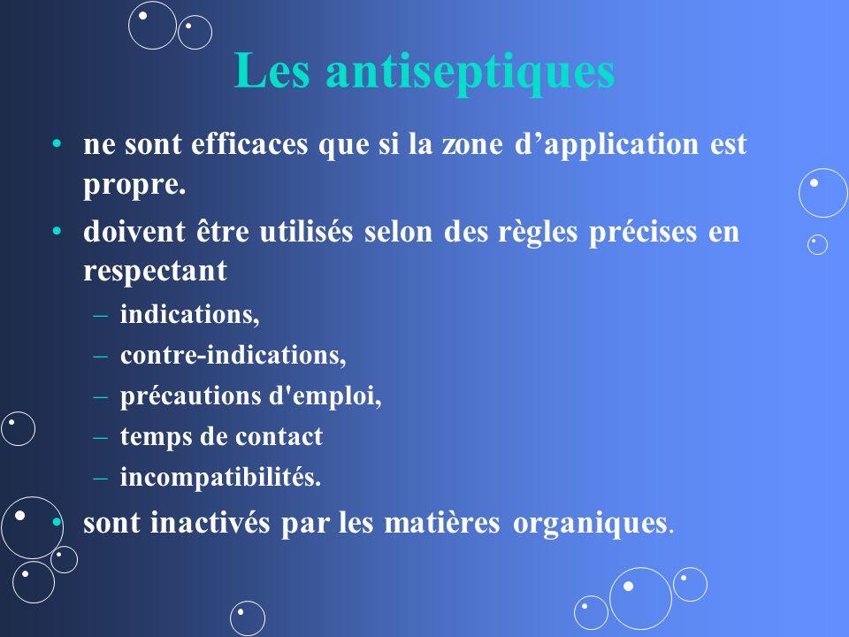 Les antiseptiques ne sont efficaces que si la zone d'application est propre. doivent être utilisés selon des règles précises en respectant.