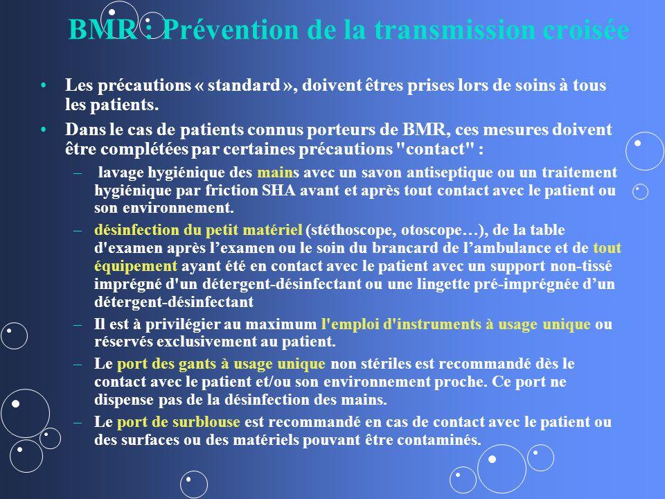 BMR : Prévention de la transmission croisée