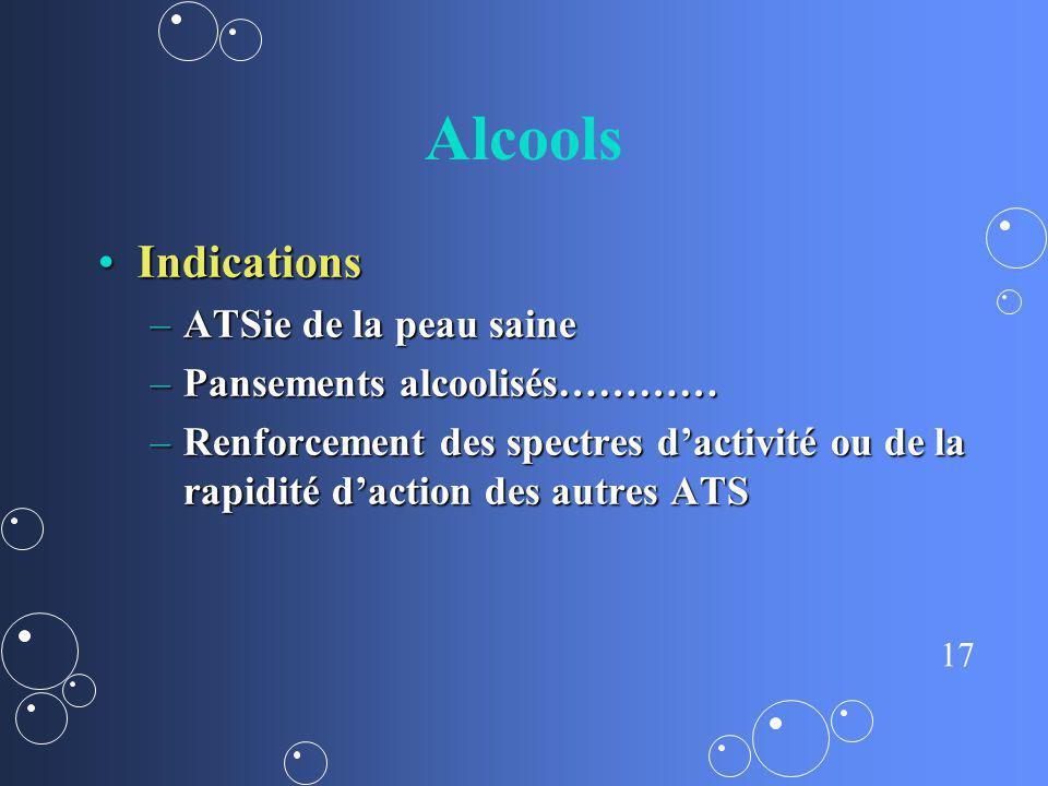 Alcools Indications ATSie de la peau saine Pansements alcoolisés…………