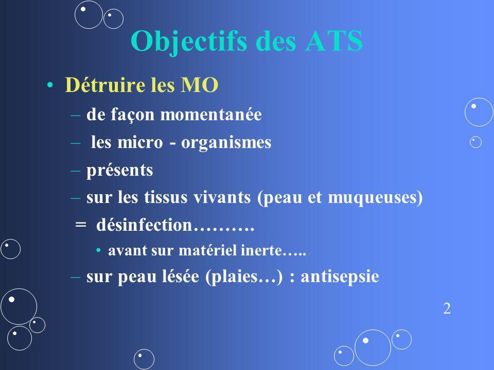 Objectifs des ATS Détruire les MO de façon momentanée