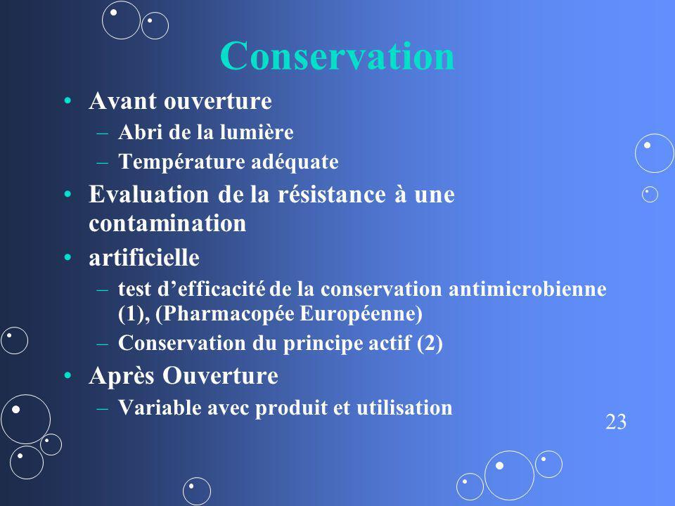 Conservation Avant ouverture