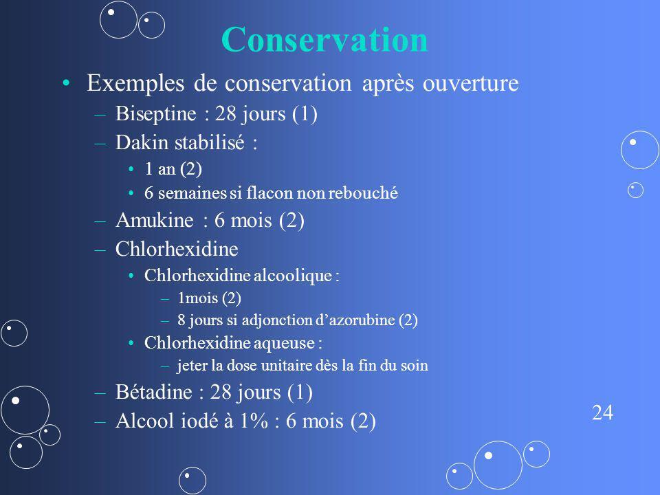 Conservation Exemples de conservation après ouverture