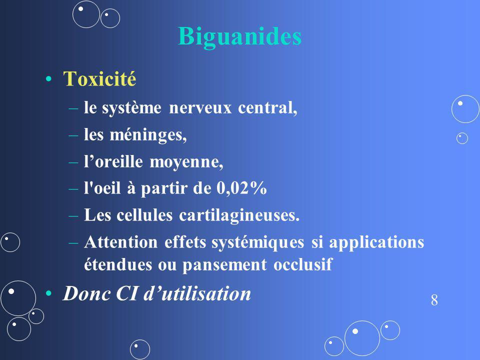 Biguanides Toxicité Donc CI d'utilisation le système nerveux central,