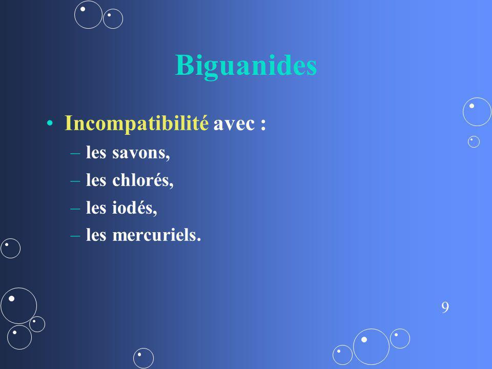 Biguanides Incompatibilité avec : les savons, les chlorés, les iodés,