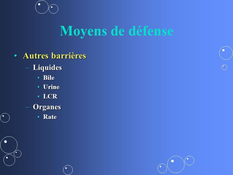 Moyens de défense Autres barrières Liquides Organes Bile Urine LCR