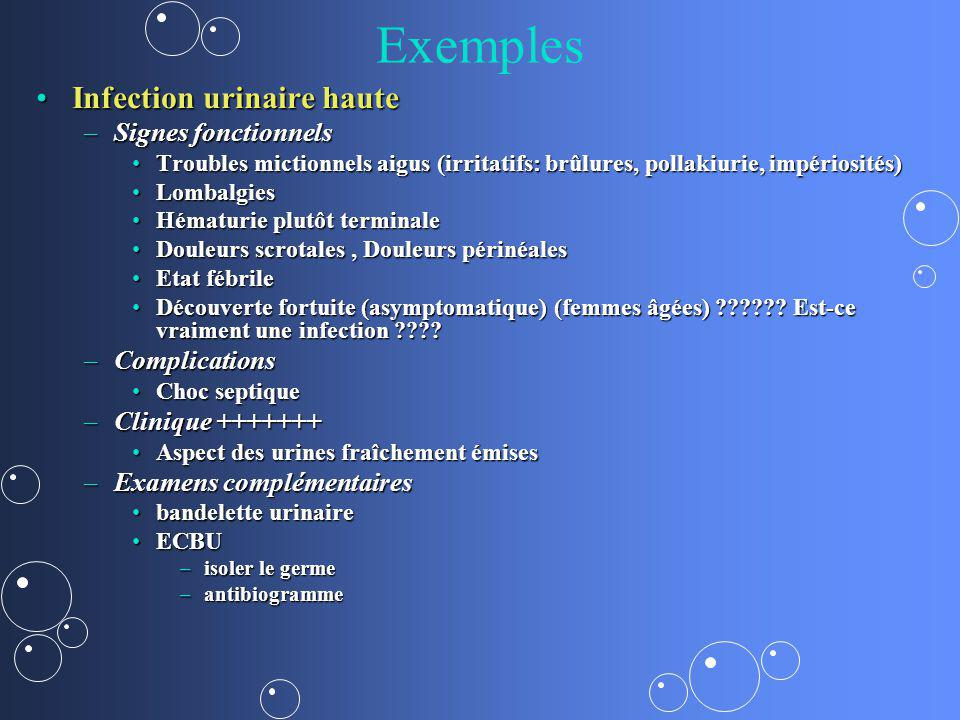 Exemples Infection urinaire haute Signes fonctionnels Complications