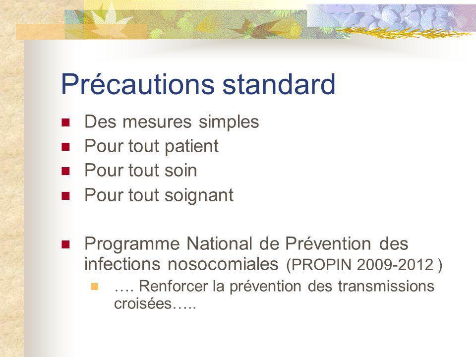Précautions standard Des mesures simples Pour tout patient