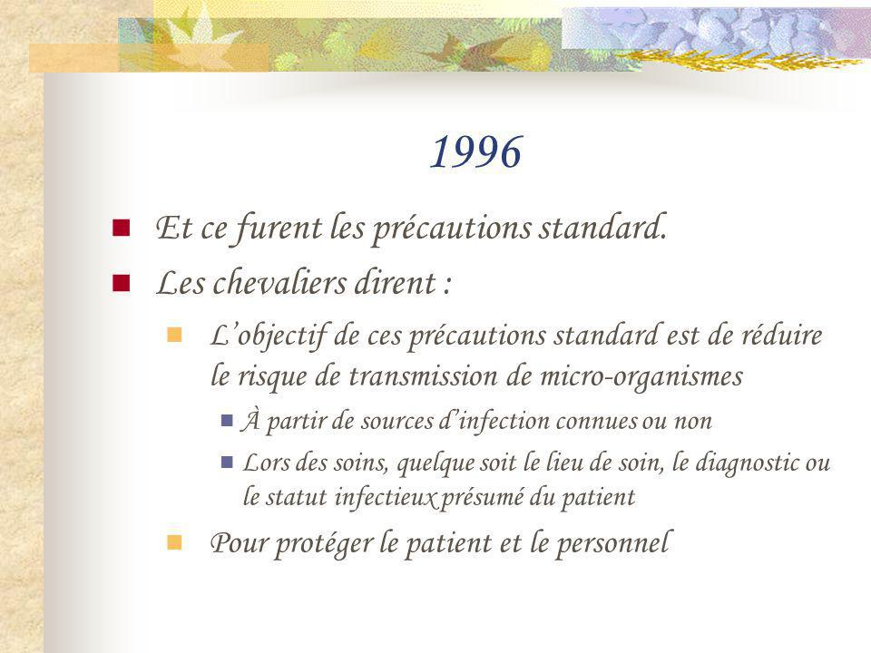 1996 Et ce furent les précautions standard. Les chevaliers dirent :
