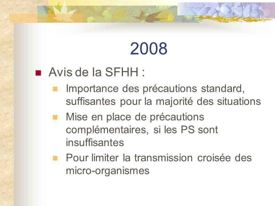 2008 Avis de la SFHH : Importance des précautions standard, suffisantes pour la majorité des situations.