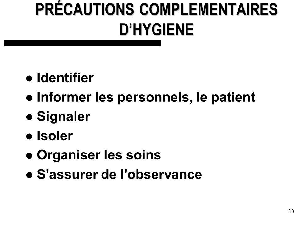 PRÉCAUTIONS COMPLEMENTAIRES D'HYGIENE