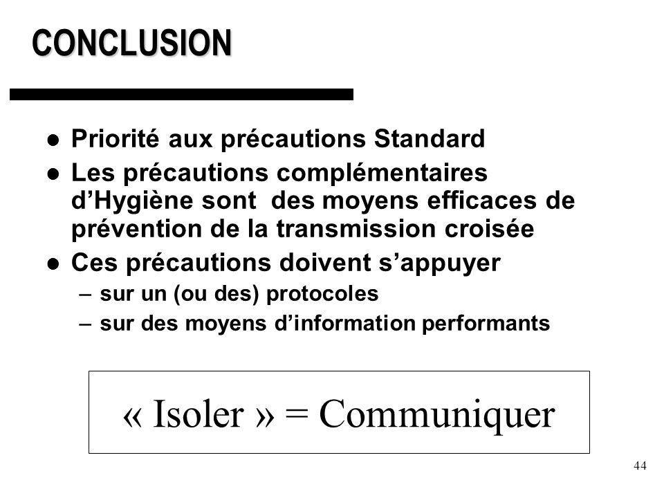 « Isoler » = Communiquer