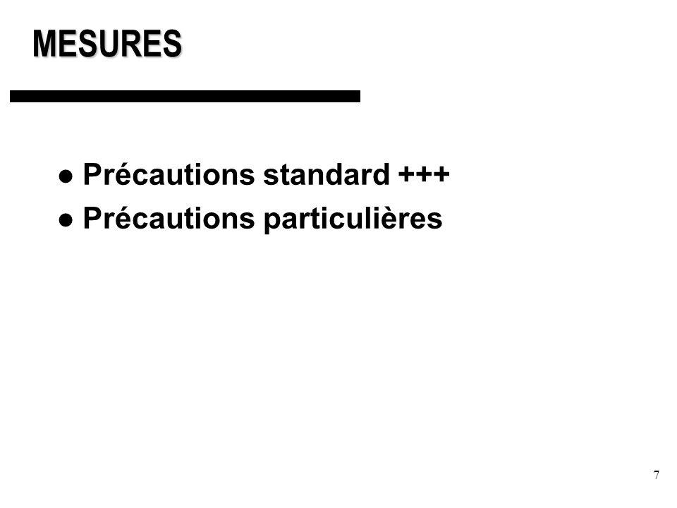 MESURES Précautions standard +++ Précautions particulières
