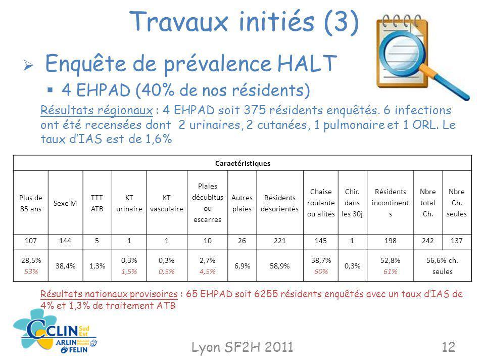 Travaux initiés (3) Enquête de prévalence HALT