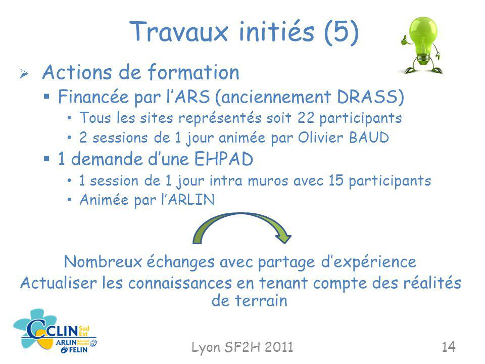 Travaux initiés (5) Financée par l'ARS (anciennement DRASS)
