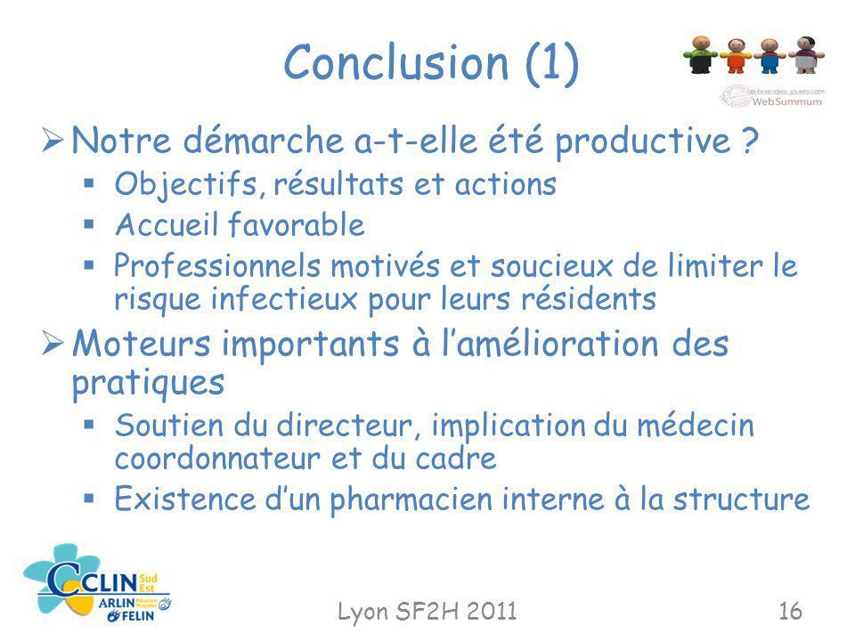 Conclusion (1) Notre démarche a-t-elle été productive