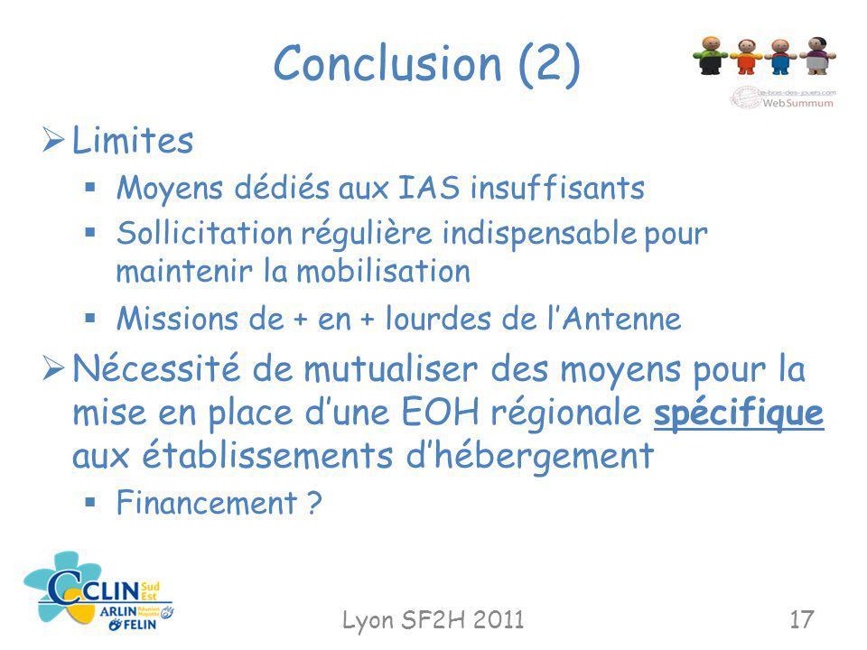 Conclusion (2) Limites. Moyens dédiés aux IAS insuffisants. Sollicitation régulière indispensable pour maintenir la mobilisation.