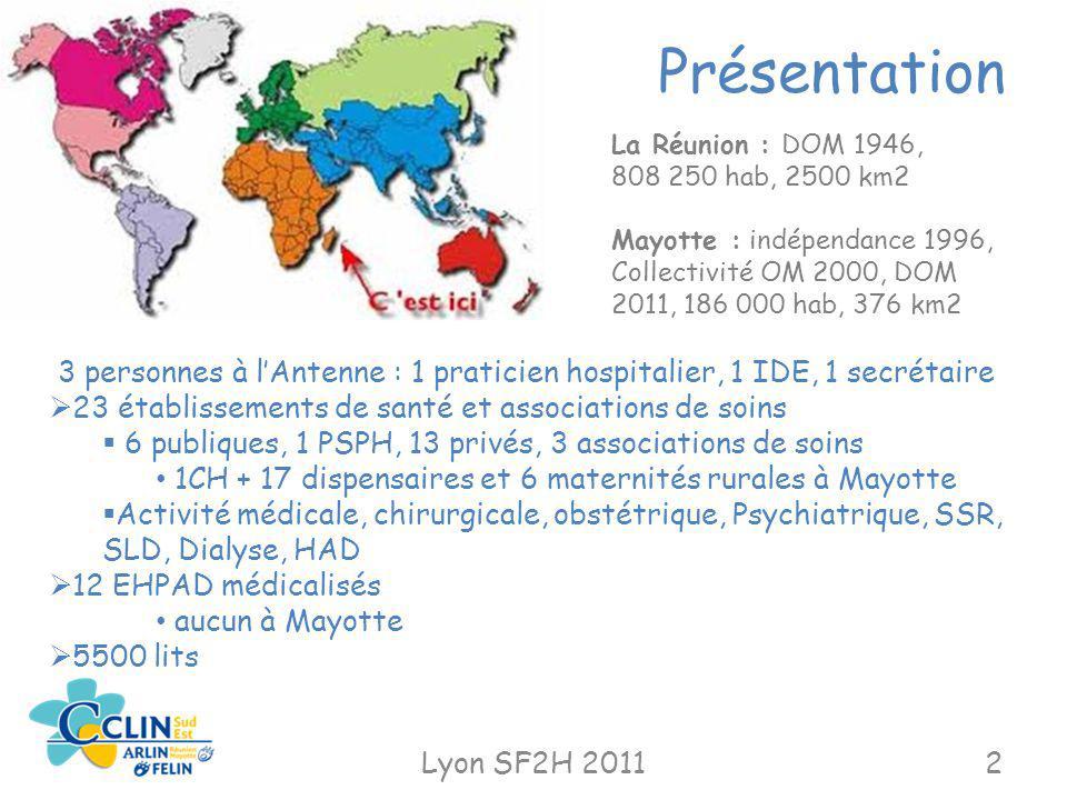 Présentation La Réunion : DOM 1946, 808 250 hab, 2500 km2. Mayotte : indépendance 1996, Collectivité OM 2000, DOM 2011, 186 000 hab, 376 km2.